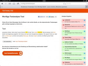 Kostenloases Textanalysetool der Wortliga GmbH