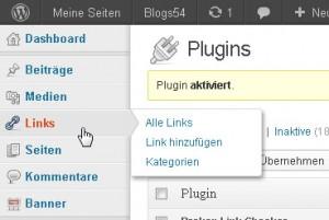 """Menü """"Links"""" in der Admin-Navigation"""