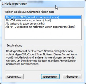Evernot Exportformat wählen
