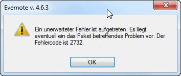 Evernote Fehlercode 2732