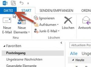 Outlook Registerkarte Datei
