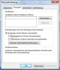 Outlook Exchange-Cache-Modus in den Einstellungen