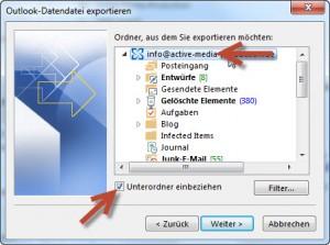 Export-Assistent: Schritt 3