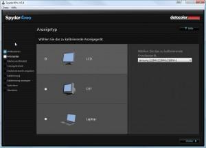 Kalibrierungssoftware Spyder4 Auswahl des Monitor Typs