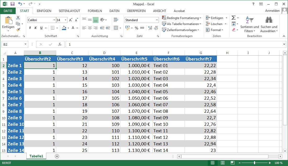 Excel $ Fixieren