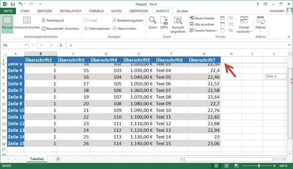 Excel fixierte erste Zeile