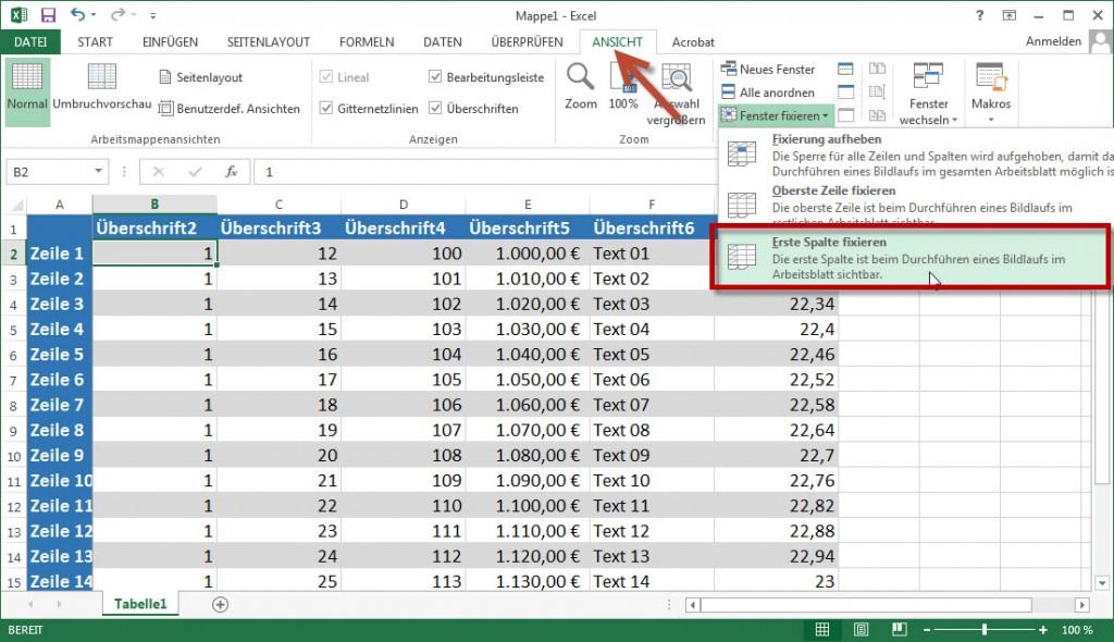 Excel erste Spalte fixieren