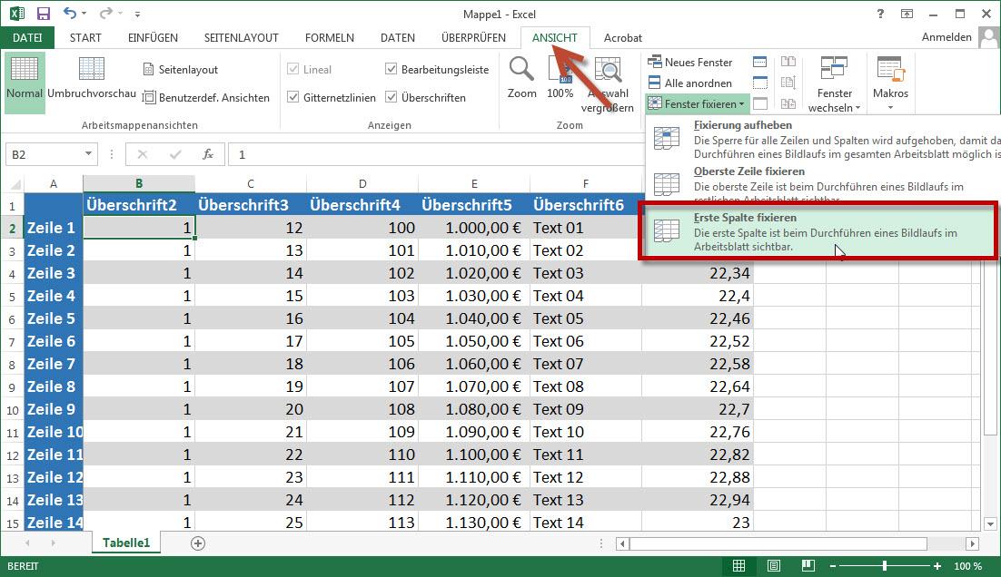 Excel Zeilen und Spalten festsetzen fixieren oder einfrieren › Blogs54