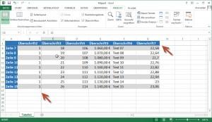 Excel Fixierungs Linien