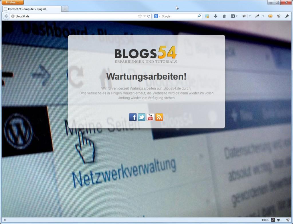 Wartungs Anzeige auf Blogs54