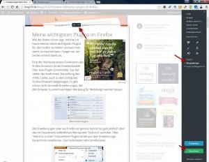 Auswahlbereich und Sidebar vom Evernote Web Clipper