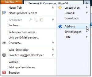 Firefox Hauptmenü