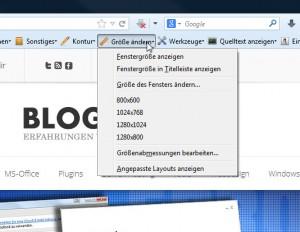 Web Developer - Änderung der Browsergröße