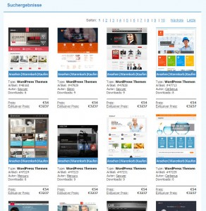Themeauswahl bei Templatemonster.com