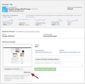 Adsens Anzeigen auswerten und blockieren