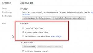 Chrome Startseite einstellen