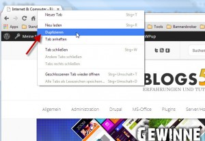 Google Chrome Tab/Registerkarte duplizieren