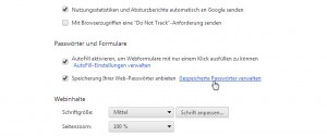 Google Chrome Passwörter verwalten