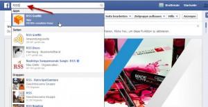 Facebook APP - RSS Grafitti suchen