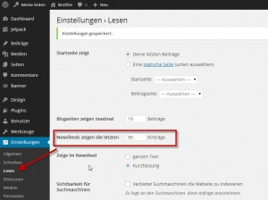 Wordpress RSS -Beitragsanzahl anpassen