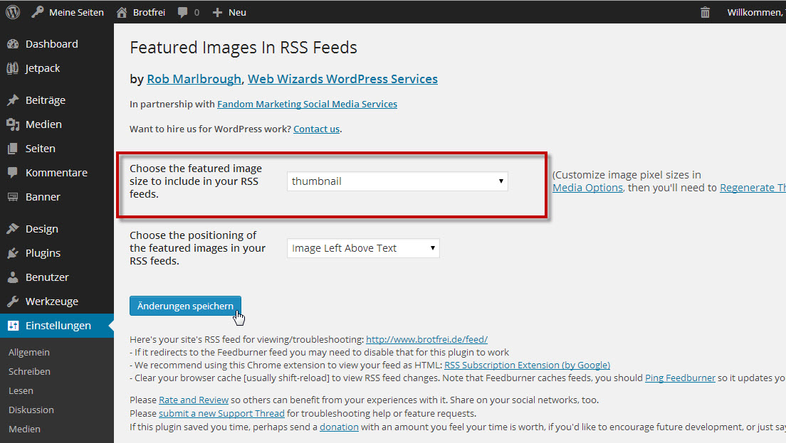 wordpress rss feed erstellen