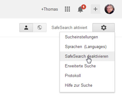 Optionen für die Google Suche