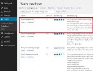 Plugin Simple Image Sizes suchen