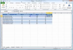 Excel Tabelle Formel eintragen