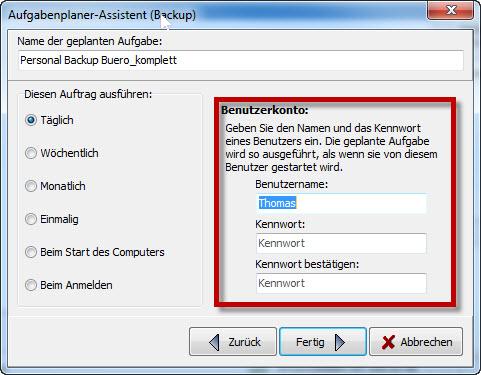 Aufgabenplaner Personal Backup - Benutzer