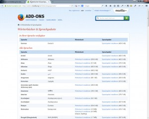 Addon-Bereich des Firefox
