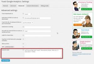 Einstellungen im Google Analytics Modul