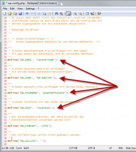 Zugangsdaten in der wp-config.php anpassen