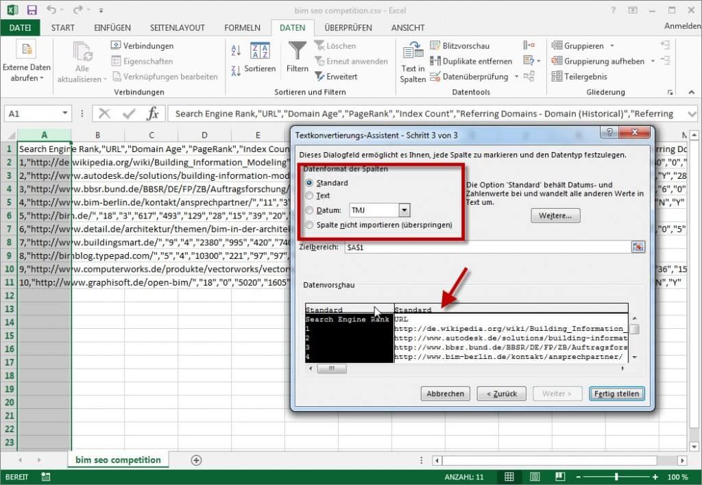 Datenformat pro Spalte einstellen