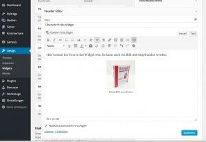 Wordpress Textwidget mit Editor