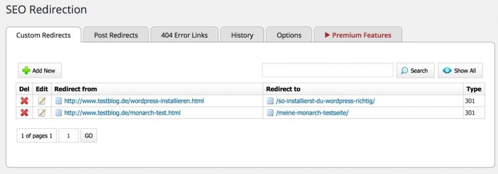 Manuelle Einträge für die Weiterleitung von URLs