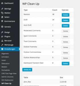 Datenbank Tabellen bei WordPress bereinigen und optimieren