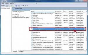 Windows Tablet Eingabedienst deaktivieren