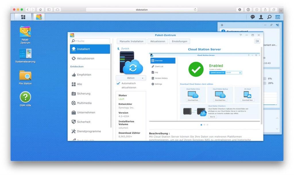 Cloud Station Server aus der Paketverwaltung installieren