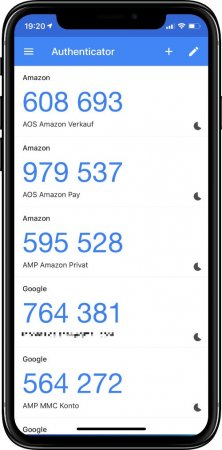 Mehrer Konten in der Google Authenticator App