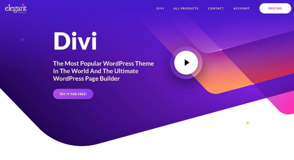 Startseite Stand 2020 von Elegant Themes Divi