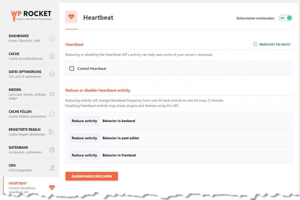 Die Heartbeat Funktionen von WP Rocket