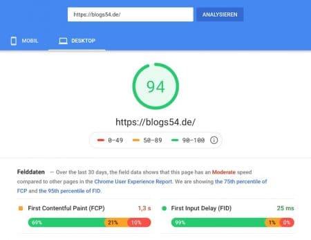 Ladezeit bei Google Page Speed mit Cache