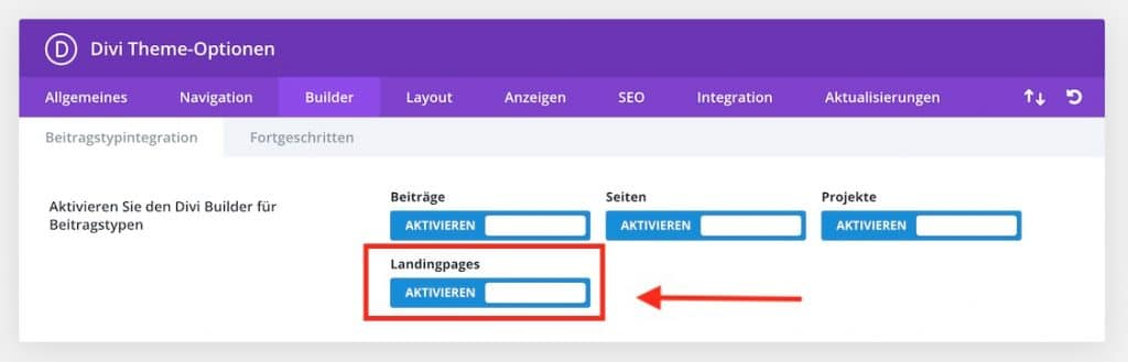Custom Post Type im Divi Builder aktivieren