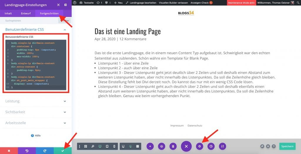 Divi Seite eigenen CSS Code einbinden
