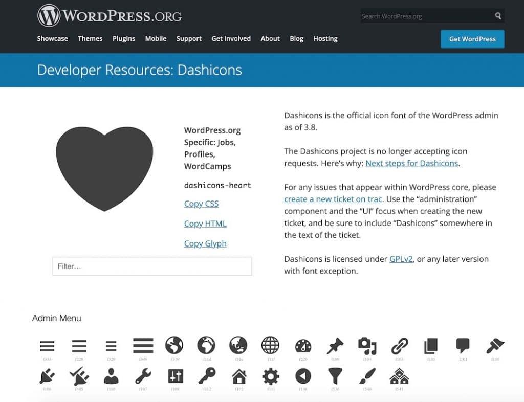 Wordpress Icons auswählen