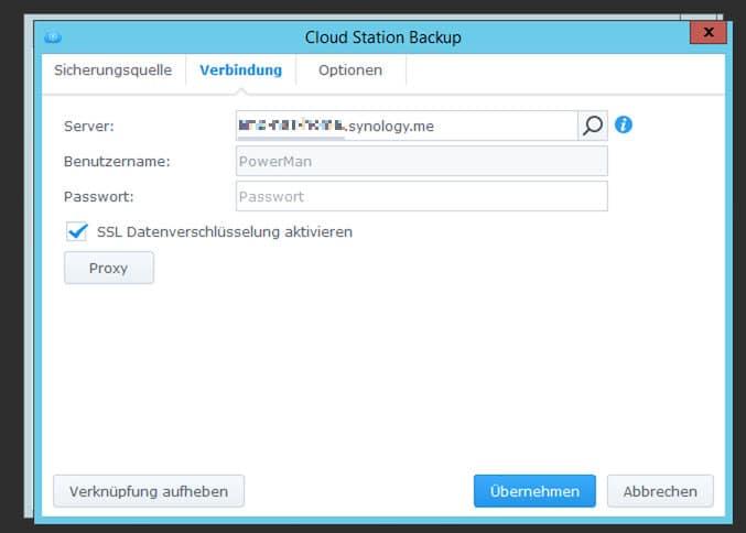 Cloudstation Backup Zugangsdaten