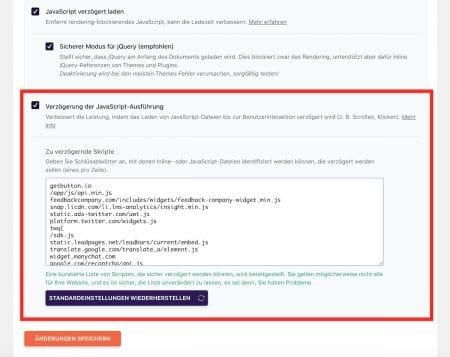 Verzögerte Ausführung von Javascript.
