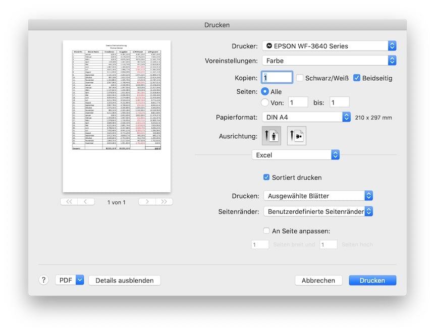 Excel Drucken Dialog und Vorschau