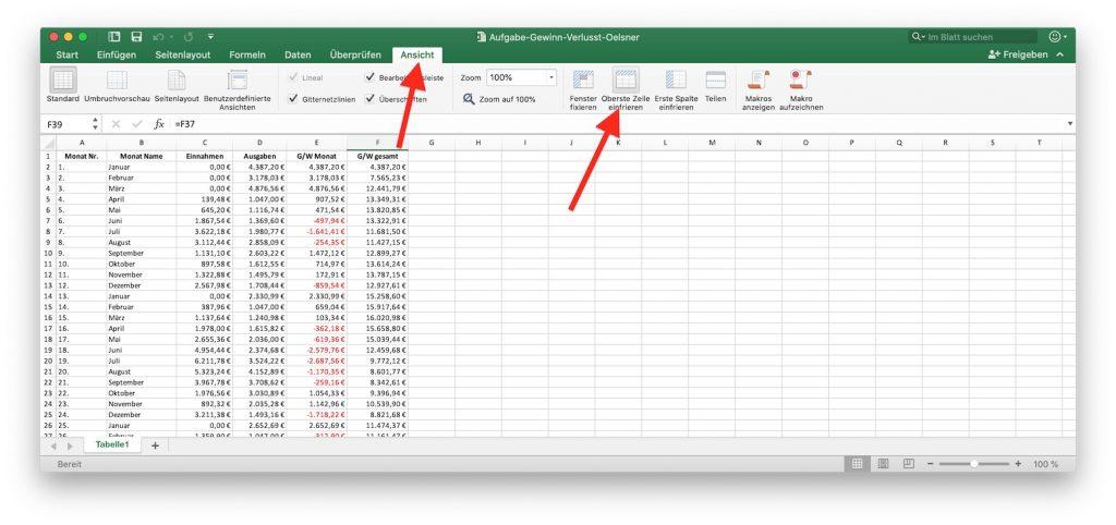 Excel Überschriften fixieren