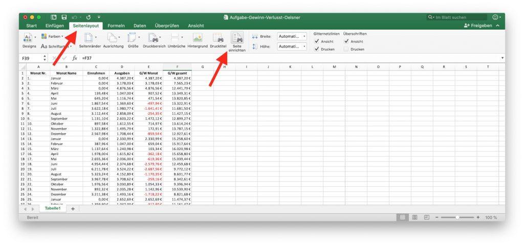 Excel Menüband Seitenlayout